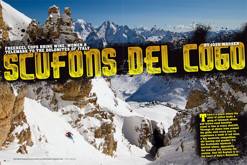 Telemark magazine spread featuring the Dolomites. Photo credit: Casey Day
