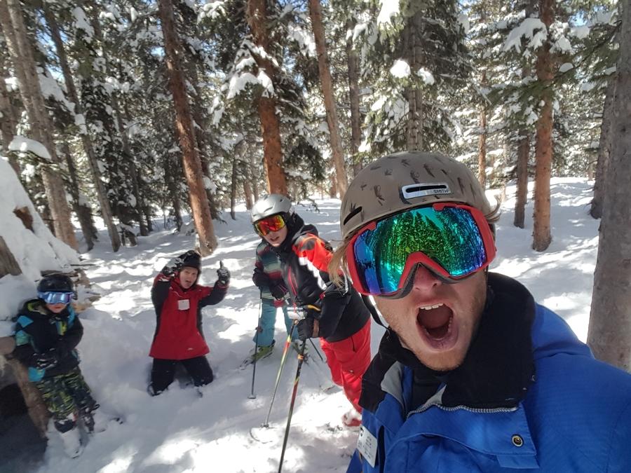 teaching beginner skiers