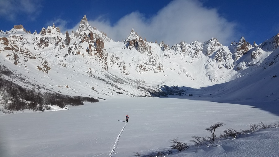 backcountry skiing in patagonia refugio frey
