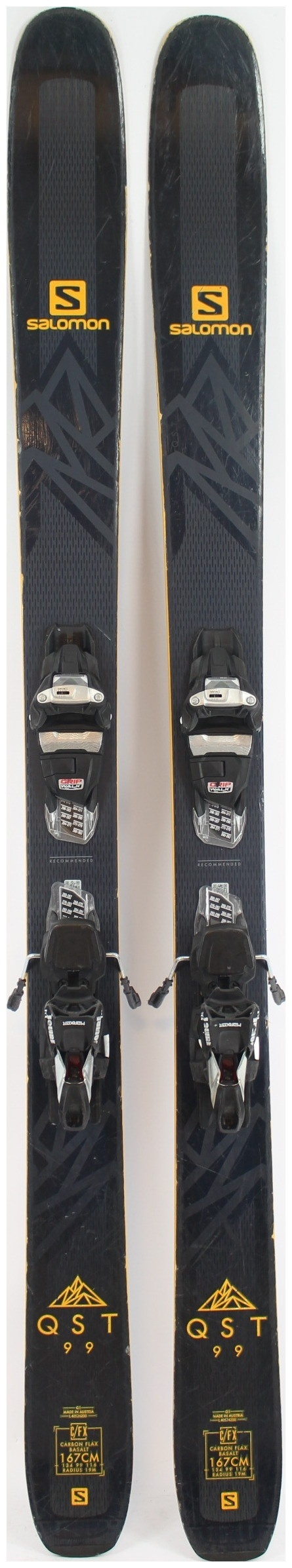 2019, Salomon, QST 99 Skis with Marker Squire TCX Demo Bindings Used Demo  Skis 167cm